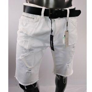 Calvin Klein White Denim Distressed Short